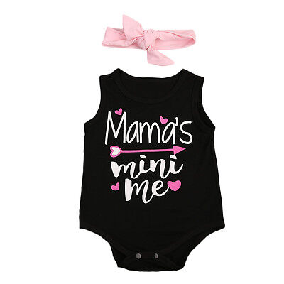 USStock Newborn Kids Baby Girl Bodysuit+Headband Jumpsuit Romper Outfits Clothes