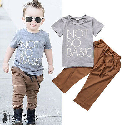 US Stock Toddler Baby Kids Boys Short Sleeve Tops T-Shirt +Pants Cotton Clothes