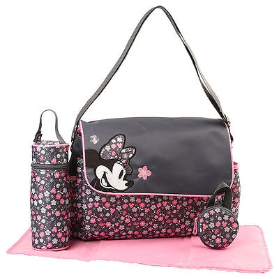Diaper Bag + Bottle & Pacifier Tote Disney Minnie Mouse Gray Pink Flowers NWT