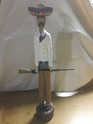 "Wooden Cowboy Figurine, 17"", Hand Crafted"