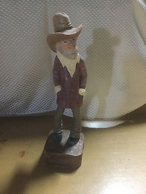 Wooden Cowboy Figurine, Hand Crafted, 10.5""