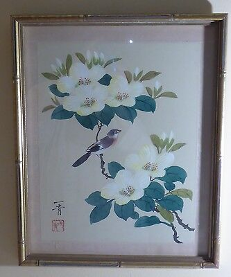 Antique/vintage Asian Water Color On Silk Painting Signed & Framed