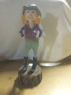 Wooden Cowgirl Figurine, Hand Crafted, 11""