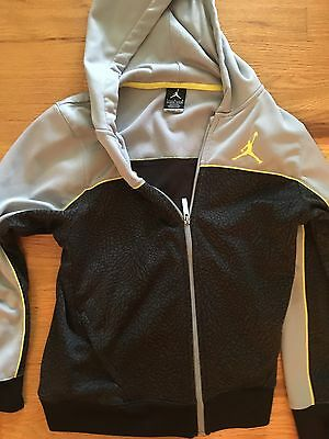 Nike Youth Large Hoodie Jacket Boy Gray And Black Air Jordan