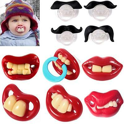 Teeth Moustache Baby Boy Girl Pacifier Sucette Orthodontic Dummy Mamelons DY