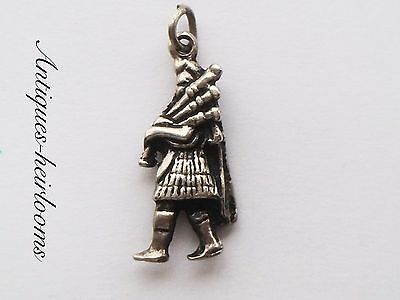 Vintage Solid Sterling Silver Scottish Bagpipes Player Charm 925