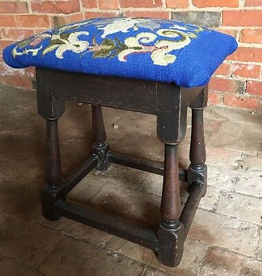 Original Antique Georgian George III Oak Joint Jointed Stool with Later Seat.