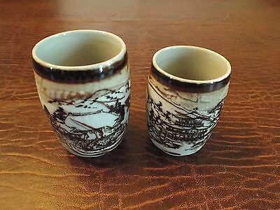 Pair Of Antique Chinese Brown and White Glazed Porcelain Cups