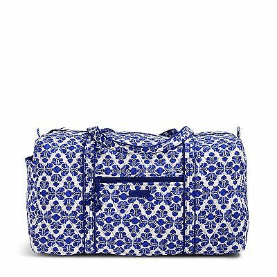 NWT Vera Bradley ~COBALT TILE~ Large Duffel Gym Travel Bag