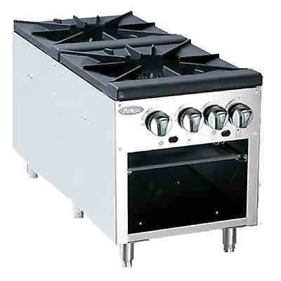 Atosa Commercial Floor Model Heavy Double Burner Gas Stock Pot Stove Atsp-18-2