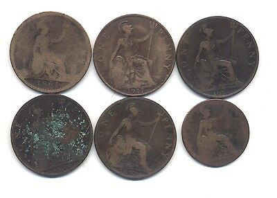 6 ea UK GB Brittish coins, 1861 - 1917 5x1-penny, 1x1/2-penny, well circulated