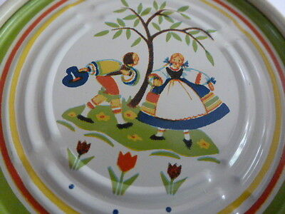 7 Vintage Metal Tin Coaster Set of Dancing Couple Under A Tree 1950s