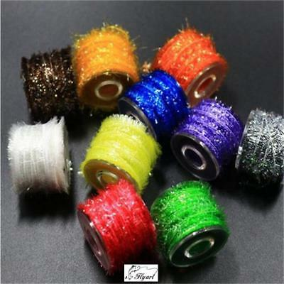 10 Colors Tinsel Chenille Line Crystal Flash Line Total 150M Fly Tying Material