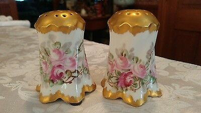 Bavaria Gold Top Salt and Pepper Shakers Pink Rose Flowers ~Nice