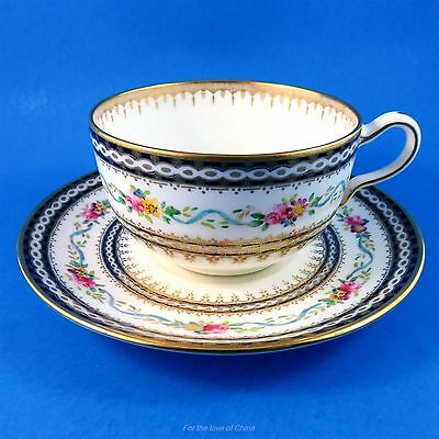 Painted Blue Ribbon with Cobalt - Gold Border & Roses Wedgwood Tea Cup & Saucer