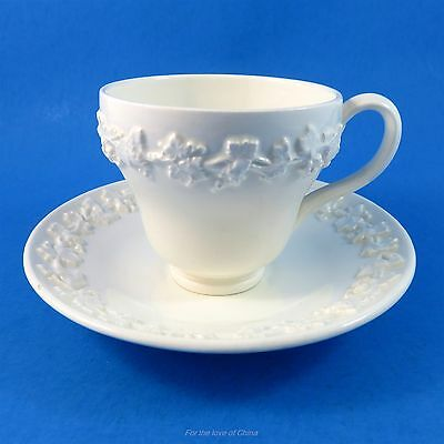 White Embossed Queens Ware Wedgwood Demitasse Tea Cup and Saucer Set
