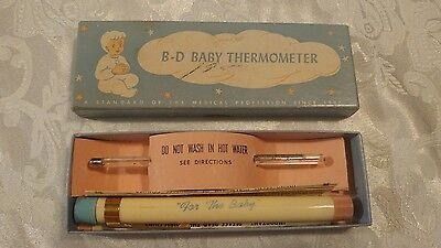 Vintage 1950s B-D Baby GLASS THERMOMETER w/ CASE & Original BOX Pink & Blue Caps