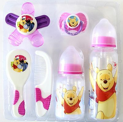 Disney Winnie The Pooh Baby Gift Set With Baby Bottles Comb Hair Brush in Pink