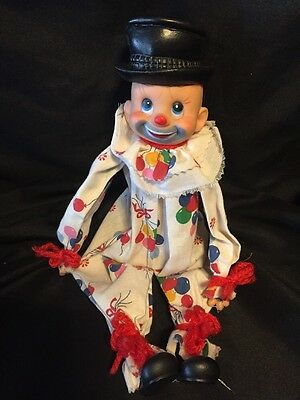 "VINTAGE 1950's SHELF SITTER CIRCUS CLOWN 14"" TALL HAND MADE IN HONG KONG"