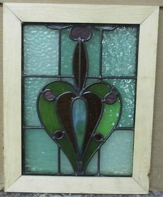 "VICTORIAN OLD ENGLISH LEADED STAINED GLASS WINDOW Intricate Abstract 11"" x 14"""