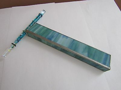 "Handmade Kaleidoscope Blue Stained Glass 8"" L"