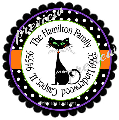 ed40c6525 Halloween Black Kitty Cat & Polka Dots #120 ~ Laser Printed Round Address  Labels
