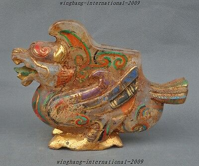 Collect Old Tibet Buddhism Crystal-Carved Pixiu Beast StAtue zun Wine vessel cup