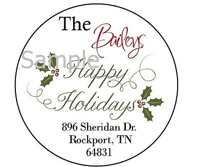 Happy Holidays With Holly #2 - Laser Printed Round Return Address Labels
