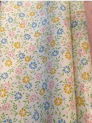 Vintage Wall Paper Mid Century Sweet Flower 50 Square Ft Double Roll NOS (1)