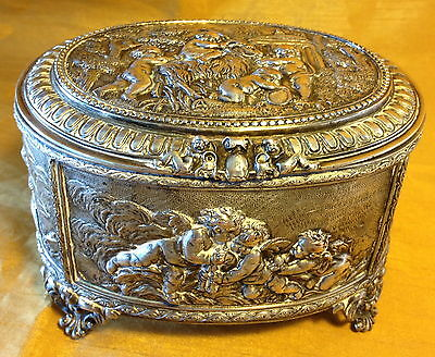 Victorian A.B. PARIS French SILVER Over Bronze Ormolu Oval Trinket/Dresser Box