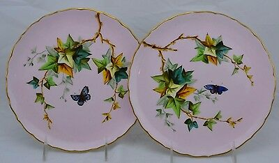 George Jones Set of 2 Cabinet Plate Gold Trim Aesthetic Movement 1890's Baby Pin