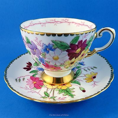 Handpainted Floral Bouquet Tuscan Tea Cup and Saucer Set