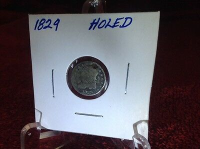 1829 - Capped Bust Half Dime - Very Good - Holed