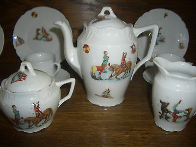 Fantastic Antique German Circus Animals Child's Tea Set For 6- Price Reduced