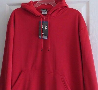 Under Armour Men's Red Cold Gear Loose Fit Hooded Sweatshirt Size M NWT