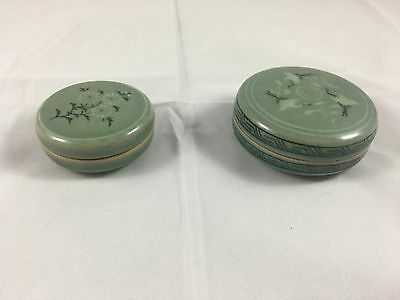 Korean pottery celadon green small boxes