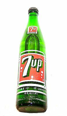 Vintage Full 7up Seven Up ACL Soda Pop Bottle Ex Can Flat Top Coke Beer Sign Ofr