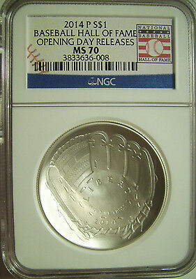 2014-P Baseball Hall of Fame Silver Dollar $1  NGC MS 70  OPENING DAY RELEASES