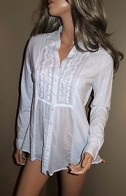 COLDWATER CREEK Embroidered Long Sleeve Cotton Blouse Shirt Jacket Top M White