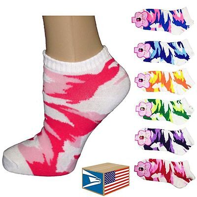 6 PAIR LOT WOMENS LADIES Camo Camouflage LOW NO SHOW ANKLE SOCKS! #0716