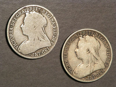 GREAT BRITAIN 1894-95 1 Florin Victoria Silver - 2 Coins