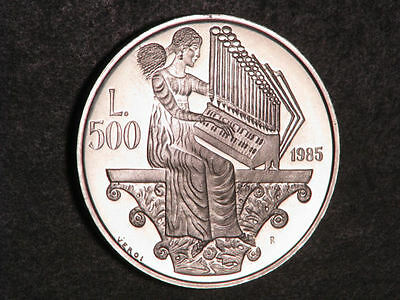 SAN MARINO 1985 500 Lire Woman Playing Music Silver Proof