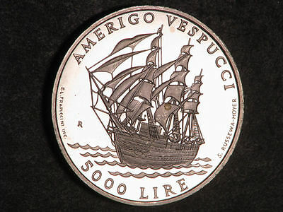 SAN MARINO 1995 5000 Lire Ship Silver Proof