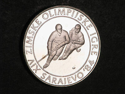 YUGOSLAVIA 1982 100 Dinara Olympic Hockey Silver Proof