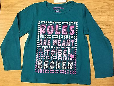 Baby Girls Green Long Sleeve T Shirt with Rules are meant to be Broken detail