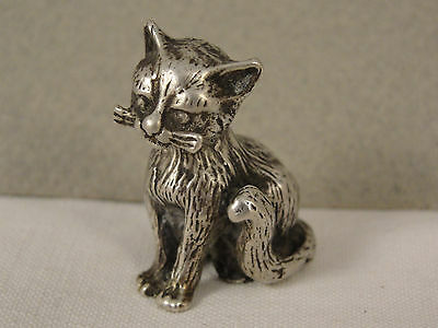 Modern Cast Solid Silver Model of SEATED CAT c1990