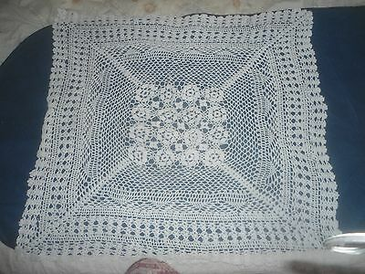 "A Pretty White Crochet Small Tablecloth  32"" X 29"""