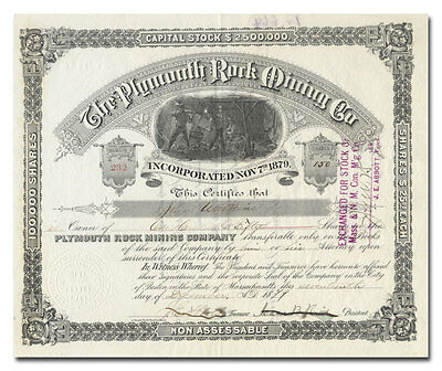 Plymouth Rock Mining Company Stock Certificate (1879)