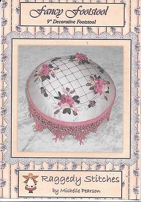 "Fancy Footstool 9"" decorative embroidery sewing pattern c.2004 ribbonwork lovely"