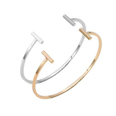 -UK- Silver Plated Double 'T' Bar Bangle Bracelet